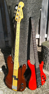 SUPER RARE 1980 Mann AJ947 & '85 Westone FS neck through basses
