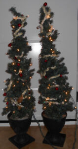 2 OUTDOOR PRE-LIT CHRISTMAS TREES WITH ORNAMENTS