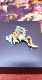 Beautiful Solid Silver and Enamel Art Nouveau Style Floral Brooch