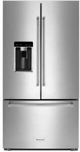 "KitchenAid Fridge KRFC604FSS 36"" Counter-Depth French Door Refrigerator With Ice And Water On The Door"