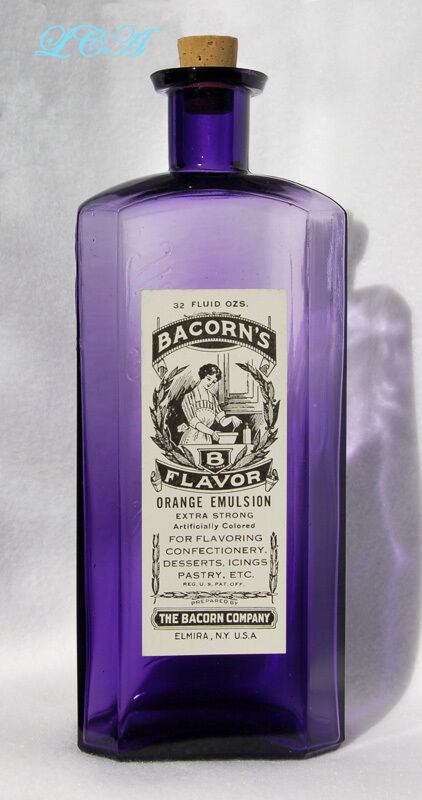 GIGANTIC antique EMBOSSED & LABELED pure purple EXTRACT bottle ELMIRA N Y