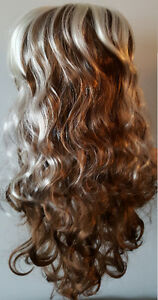 Light Brown Wavy Curly Long Hair Wig with White Streaks (1) St. John's Newfoundland image 3