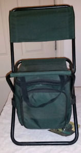 Small folding chair with attach cooler
