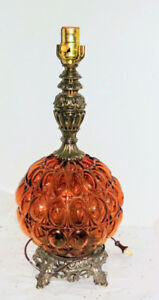 Vintage Amber Glass Table Lamp