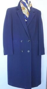 WOMENS LONG AQUASCUTUM WOOL COAT 10 M MINT Free Scarf Genuine Brand Vintage Winter Coat Navy Blue FREE SCARF - Reduced!