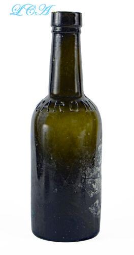 Antique BLACK glass GREEN color CORONI BITTERS bottle GOOD DEEP color HAND blown