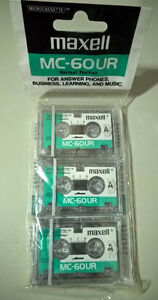 Maxell MC-60UR Normal Position Microcassette Audio Tapes