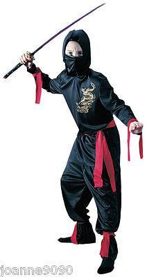 Boys Kids Black Dark Hooded Ninja Warrior Fighter Fancy Dress Costume and Mask