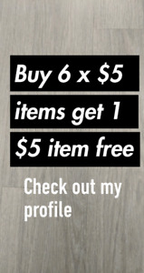 Buy 6 x $5 items get 1 for free