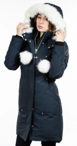 Moose Knuckle Stirling Ladies Parka - Navy/White Fox Fur Medium