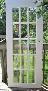 One White Solid Wood French Door Fifteen Flat Glass Panels
