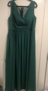 Dark Green Empire V-neck Floor-Length Chiffon Dress
