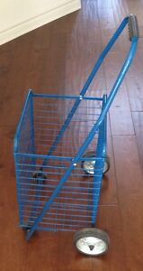 Quality Blue Grocery Cart & Paper Carrier