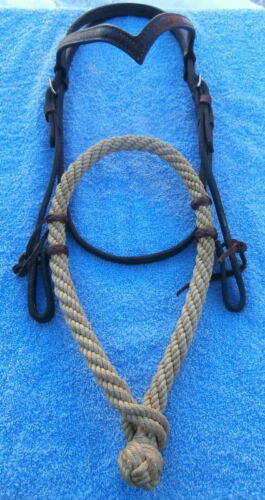 Twisted Rope Training Horse Bosal with Champion V Brow Headstall