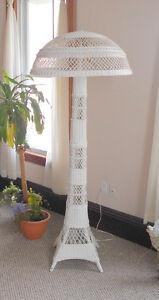HUGE Antique Victorian Wicker Floor Lamp - 1910s Antique