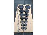 OVER 60kg CAST IRON WEIGHTS WITH 2 HEAVY DUTY BARBELLS