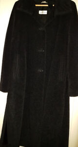 Max Mara Long Black Alpaca/Wool Coat