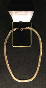"""Herringbone style 10k gold-plated necklace. 16"""" long, 6mm wide"""