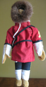 """13"""" Inuit Heritage Collectible RCMP Doll Wearing Red Tunic"""