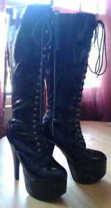 FREE knee high pvc boots size 8 womens