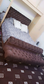 King size bed frame, Matteress and full length footstool