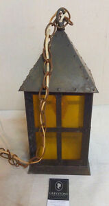 942: Vintage House-Like Light Fixture with Yellow Glass