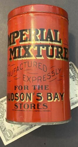 H2386.Empty tobacco tin Hudson's Bay Stores, Imperial mixture, The Thos. Davidso
