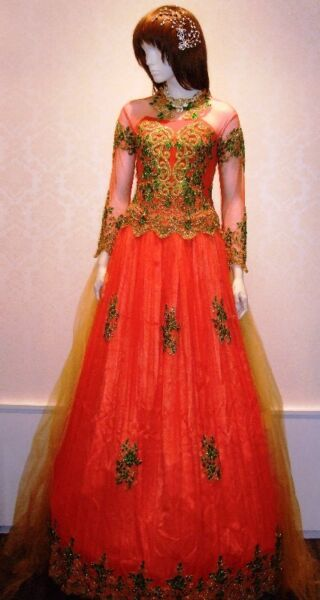 Bright Orange Gown with Gold & Green Beadings.