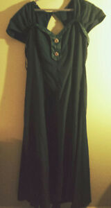 Long dark green forest green Mother of the bride dress
