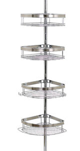 Versatile tension-mounted pole with basket shelves!