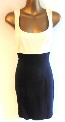 Karen Millen 8/10 Dress in black & cream very chic backless pencil style  (B431