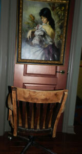 1920 Industrial Oak Bankers Chair+Hooded Casters+Horse Lamp