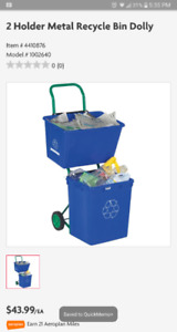 2 holder metal recycle bin dolly