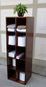 RUSTIC SOLID WOOD 10 CUBBY HOLES DISPLAY/STORAGE STAND