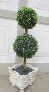 """24"""" HIGH ARTIFICIAL 2 TIER BOXWOOD TOPIARY - GRT. COND"""