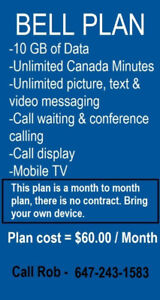 BELL PLAN - 10GB & Unlimited Calling - $60.00 ( 10GB for 60 )