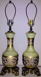 Vintage MADE in FRANCE Lamps GLASS BRASS Antique