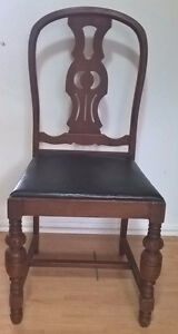 Vintage Antique Solid Walnut Padded Chair.