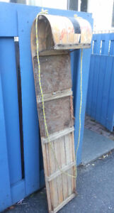 Antique 5 ft Bentwood Ash Canadian Toboggan