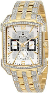 NEW Bulova Striking Watch Swarovski Crystals Gold MRSP$1000
