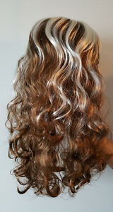 Light Brown Wavy Curly Long Hair Wig with White Streaks (1) St. John's Newfoundland image 1