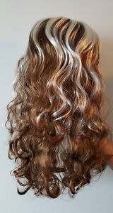 Light Brown Wavy Curly Long Hair Wig with White Streaks (1)