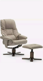 FABRIC SWIVEL RECLINER ARMCHAIR CHAIR with FOOT STOOL (Pumice)