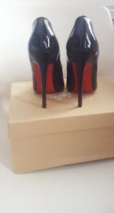 Christian Louboutin Pigalle 120 Patent Black Size  7 8 9 CL Heel