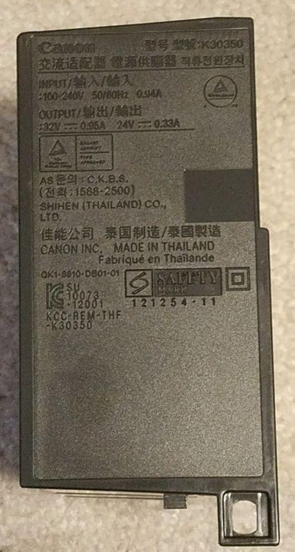 NEW Canon AC Printer Power Supply Adapter PIXMA MX922 MX722 MX725 Unused K30350