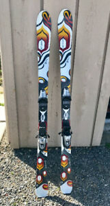 K2 Secret Luv twin tip skis and bindings