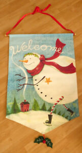 """Welcome"" Outdoor House Flag - Art of Snowman Winter Skating"