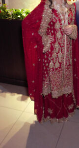 Traditional Red Wedding Dress (Pakistani/Indian) - $800