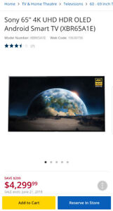 """65"""" Sony Bravia OLED 4K HDR Android Smart TV A1E"""