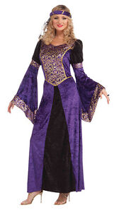FANCY-DRESS-WOMENS-MEDIEVAL-MAIDEN-COSTUME-PURPLE-AND-BLACK-SIZES-10-12